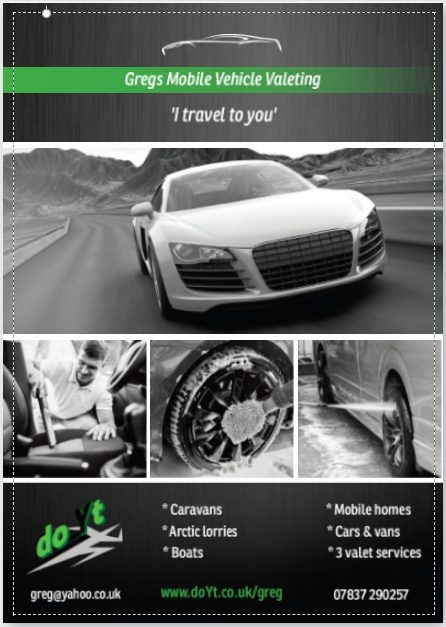 Mobile car valeting flyer